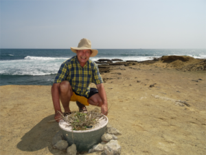 Pieter Hoff - inventor of Groasis - for the reusable Waterboxx plant cocoon which is planted in Chocolatera, Ecuador